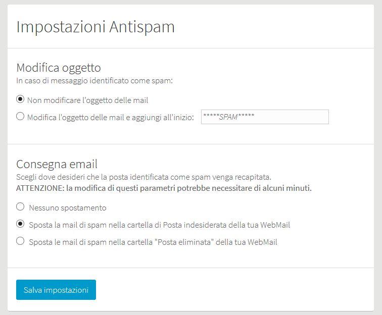 Personalizzazione filtri Antispam
