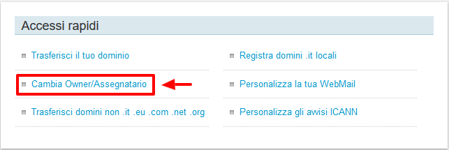 Pannello di controllo di Register.it
